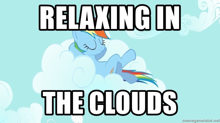 Rainbow Dash Cloud - relaxing in the clouds