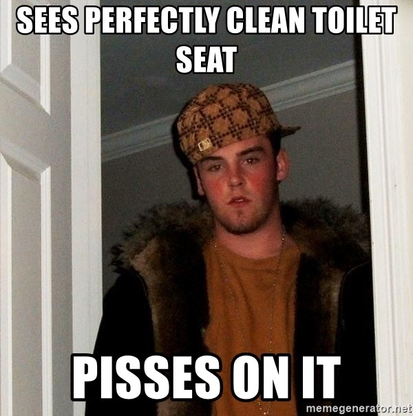 Scumbag Steve - Sees perfectly clean toilet seat Pisses on it