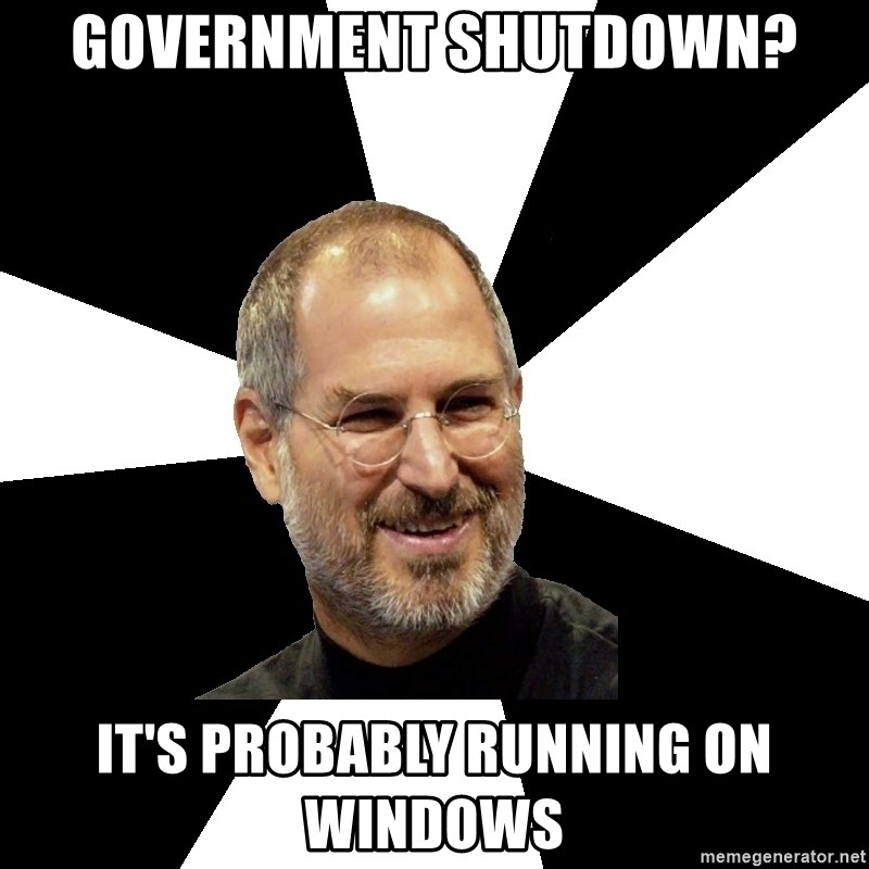Steve Jobs Says - Government shutdown? It's probably running on windows