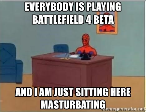 Spiderman Desk - everybody is playing battlefield 4 beta and i am just sitting here masturbating