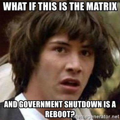 what if meme - what if this is the matrix and government shutdown is a reboot?