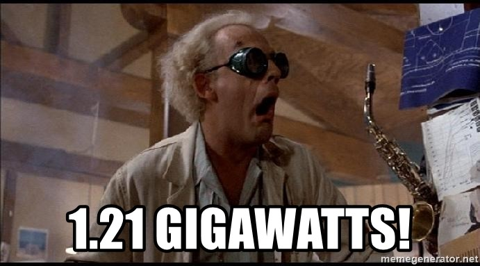 Doc from Back To The Future - 1.21 gigawatts!