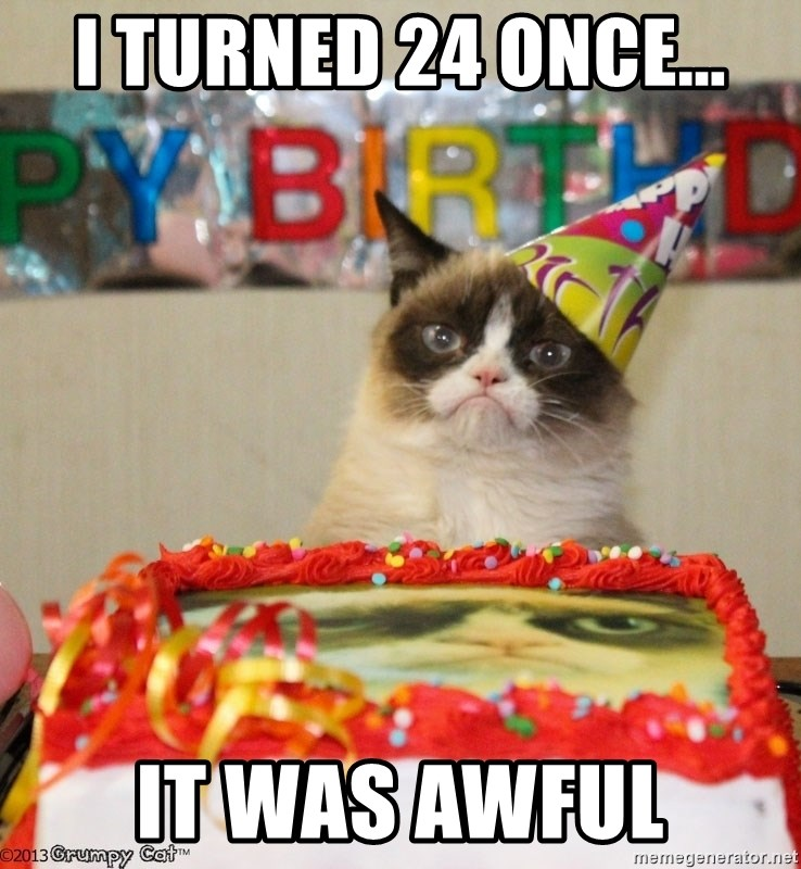 Grumpy Cat Birthday hat - I turned 24 once... it was awful