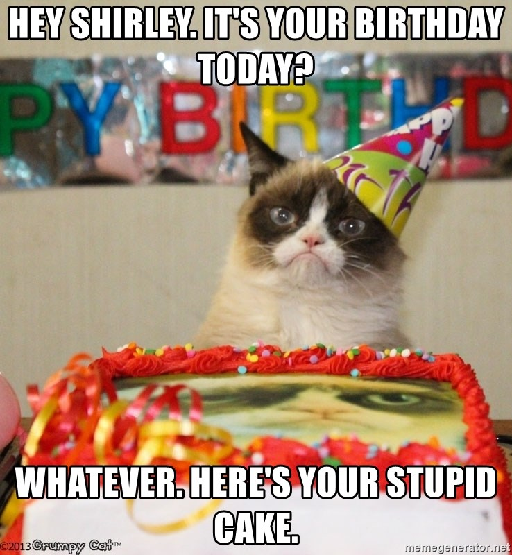 Grumpy Cat Birthday hat - Hey Shirley. It's your birthday today? Whatever. Here's your stupid cake.