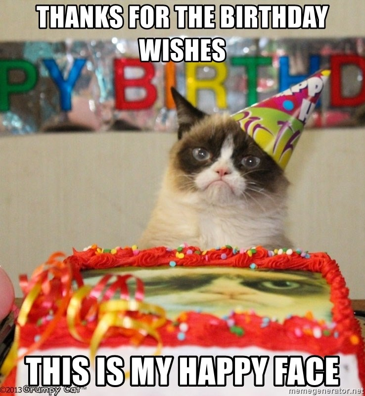 Grumpy Cat Birthday hat - Thanks for the birthday wishes This is my happy face