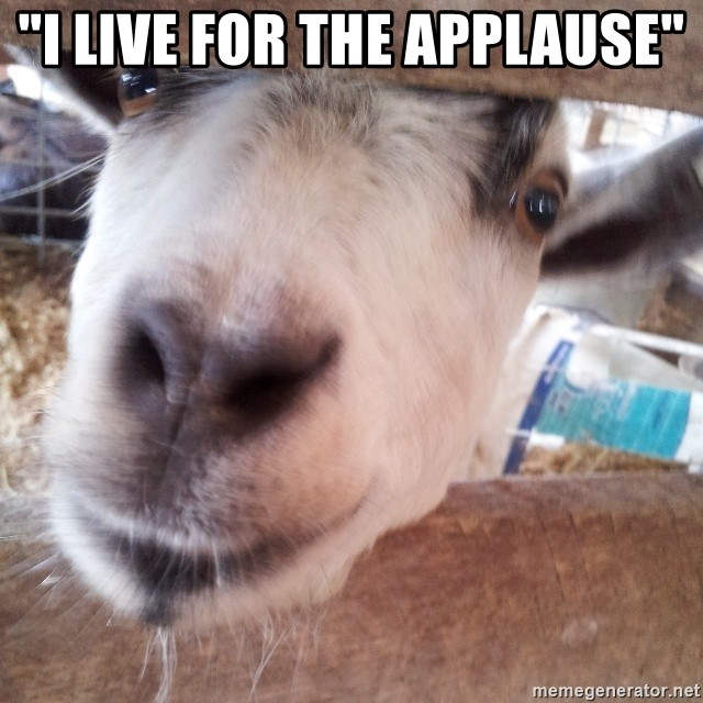 """Animals with song quotes - """"I live for the applause"""""""