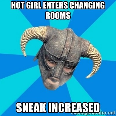 skyrim stan - hot girl enters changing rooms sneak increased