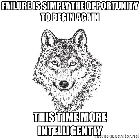 Sarcastic Wolf - Failure is simply the opportunity to begin again this time more intelligently