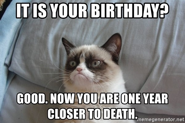 Grumpy cat good - It is your birthday? good. now you are one year closer to death.