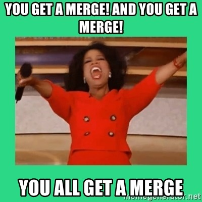 Oprah Car - you get a merge! and you get a merge! you all get a merge