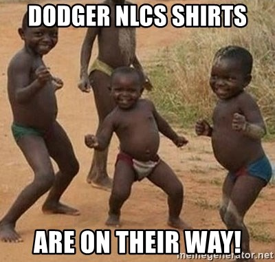 Dancing African Kid - Dodger NLCS shirts are on their way!
