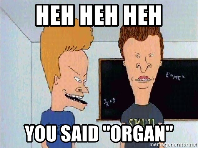 "Beavis and butthead - heh heh heh you said ""organ"""