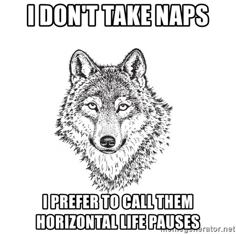 Sarcastic Wolf - i don't take naps i prefer to call them horizontal life pauses