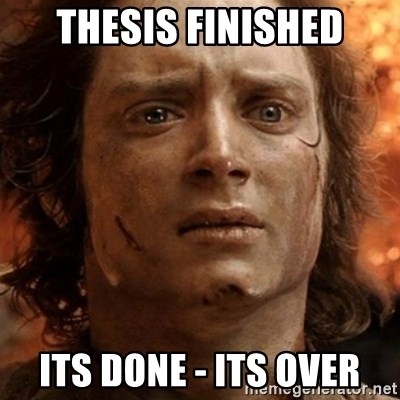 frodo it's over - THESIS FINISHED ITS DONE - ITS OVER