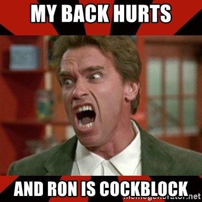Arnold Schwarzenegger 1 - My back hurts  And Ron is cockblock