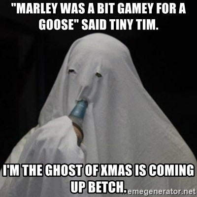 """Poverty Ghost - """"Marley was a bit gamey for a goose"""" said tiny tim. I'm the ghost of xmas is coming up betch."""
