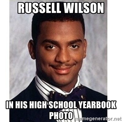 Carlton Banks - russell wilson in his high school yearbook photo