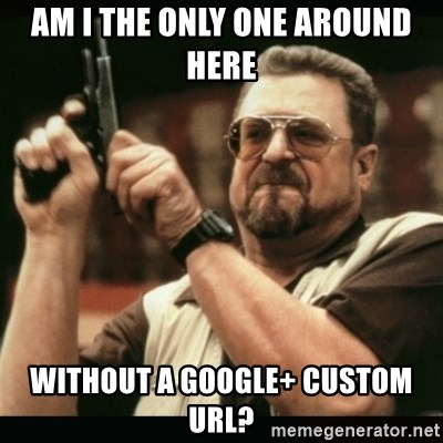 am i the only one around here - Am i the only one around here without a google+ custom url?