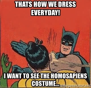 batman slap robin - Thats how we dress everyday! I want to see the homosapiens costume...
