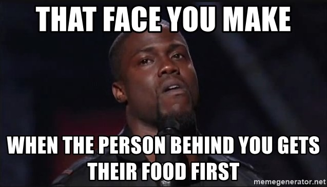 Kevin Hart Face - That face you make When the person behind you gets their food first