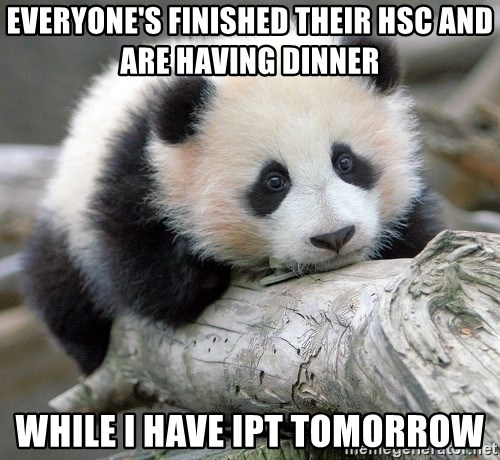 sad panda - Everyone's finished their HSC and are having dinner  While I have IPT tomorrow