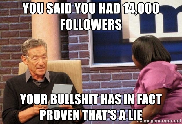 Maury Lie Detector - You said you had 14,000 followers Your bullshit has in fact proven that's a lie