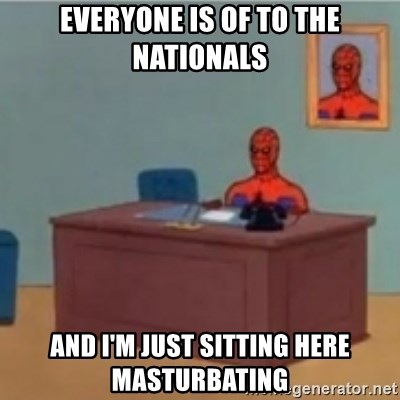 60s spiderman behind desk - everyone is of to the nationals and i'm just sitting here masturbating