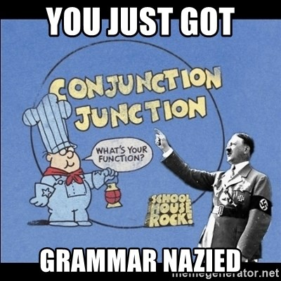 Grammar Nazi - You just got  grammar nazied