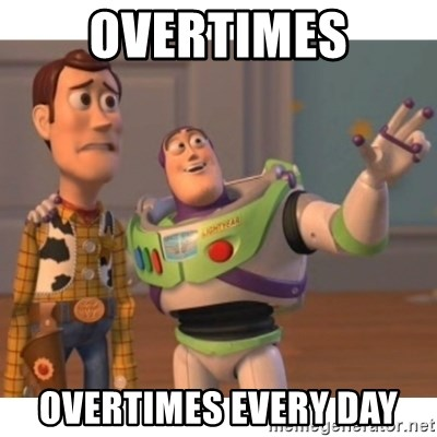 Toy story - overtimes overtimes every day