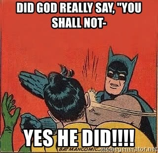 "batman slap robin - Did God really say, ""you shall not- yes he did!!!!"
