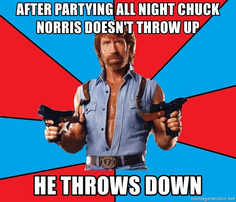 Chuck Norris  - After partying all night Chuck Norris doesn't throw up He throws down