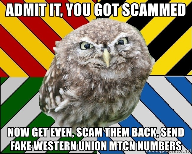 JEALOUS POTTEROMAN - Admit it, you got scammed now get even, scam them back, send fake Western union MTCN numbers
