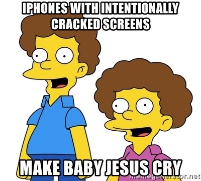 Rod & Todd Flanders - iPhones with intentionally cracked screens make Baby Jesus cry