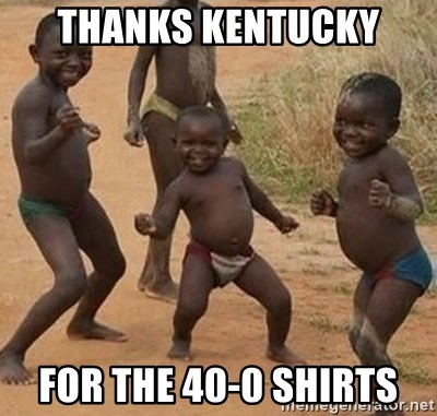 Dancing african boy - Thanks Kentucky For the 40-0 shirts