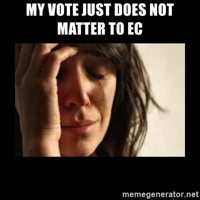 todays problem crying woman - My vote just does not matter to EC