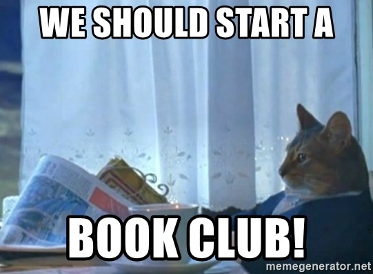 newspaper cat realization - We should start a  book club!