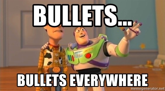 buzz lightyearr - bullets... bullets everywhere