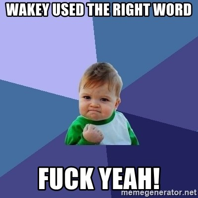 Success Kid - Wakey used the right word Fuck yeah!