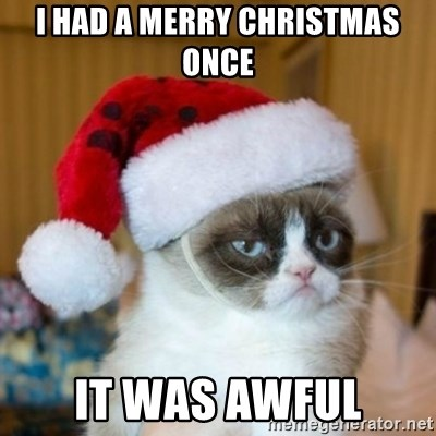 Grumpy Cat Santa Hat - I had a Merry Christmas once It was awful