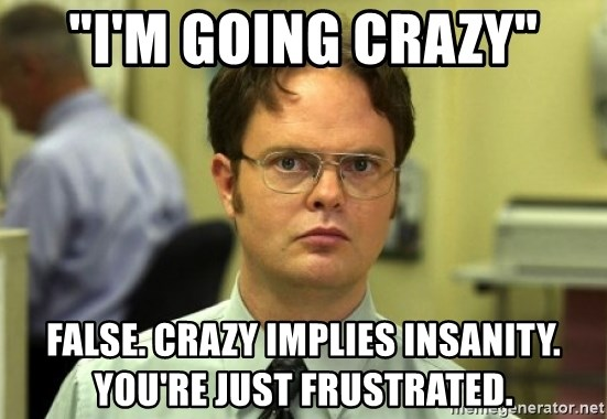 """Dwight Meme - """"I'm going crazy"""" False. Crazy implies insanity. You're just frustrated."""
