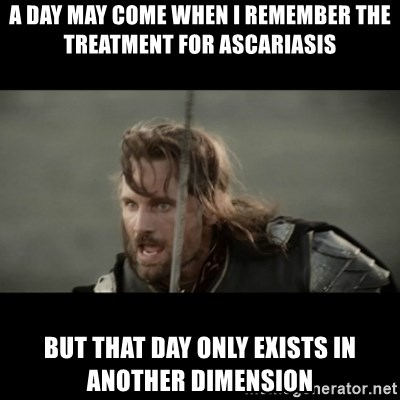 But it is not this Day ARAGORN - A day may come when I remember the treatment for ascariasis But that day only exists in another dimension