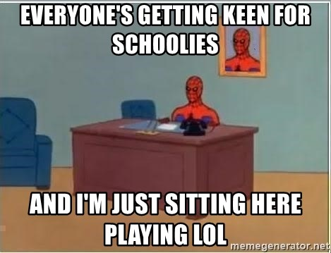Spiderman Desk - everyone's getting keen for schoolies and i'm just sitting here playing lol