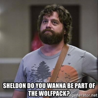 Alan Hangover -  Sheldon do you wanna be part of the WOLFPACK?