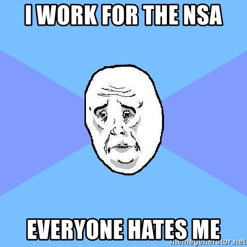 Okay Guy - i work for the NSa EVERYONE hates me