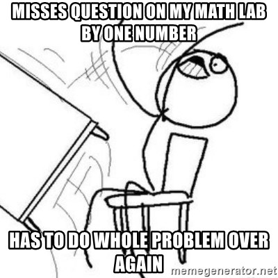 Flip table meme - Misses question on my math lab by one number has to do whole problem over again