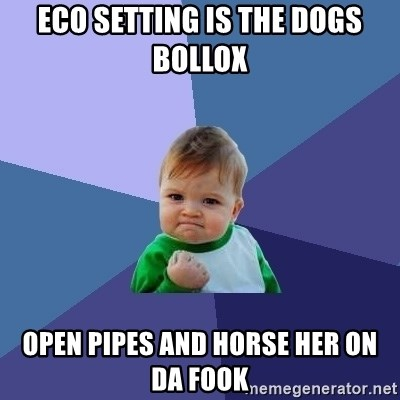 Success Kid - Eco setting is the Dogs Bollox  Open pipes and horse her on da Fook