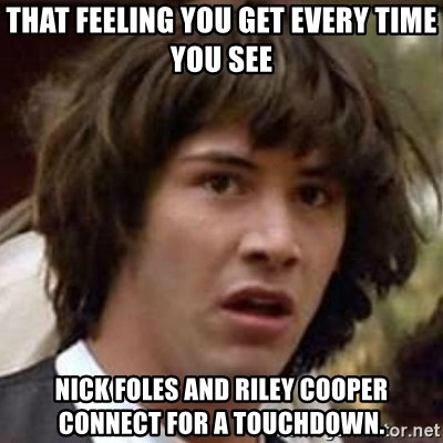 Conspiracy Keanu - THAT FEELING YOU GET EVERY TIME YOU SEE NICK FOLES AND RILEY COOPER CONNECT FOR A TOUCHDOWN.