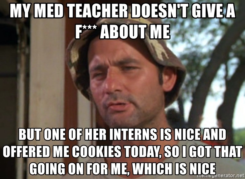 So I got that going on for me, which is nice - My med teacher doesn't give a f*** about me but one of her interns is nice and offered me cookies today, so i got that going on for me, which is nice