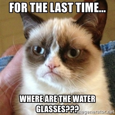 Grumpy Cat  - For the last time... where are the water glasses???