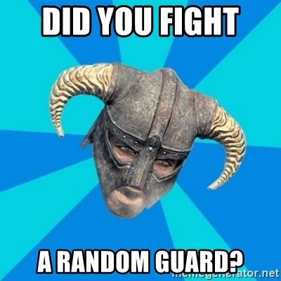 skyrim stan - DID YOU FIGHT  A RANDOM GUARD?